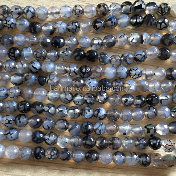 facted dragon black agate 6mm 8mm 10mm natural gemstone beads
