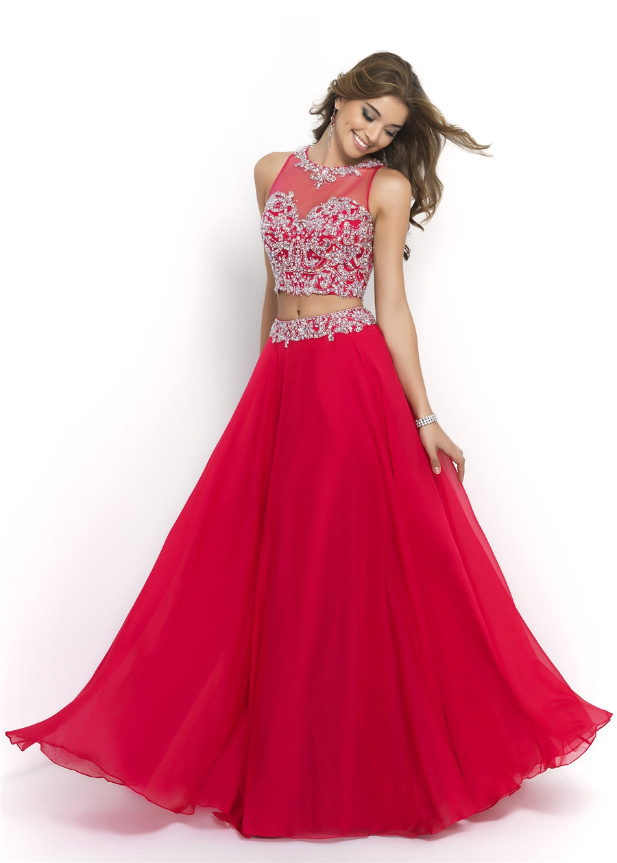 2015 Two Pieces Prom Dresses O- Neck Floor Length A Line Chiffon Red Crystal Formal Dresses Party Bridal Dresses