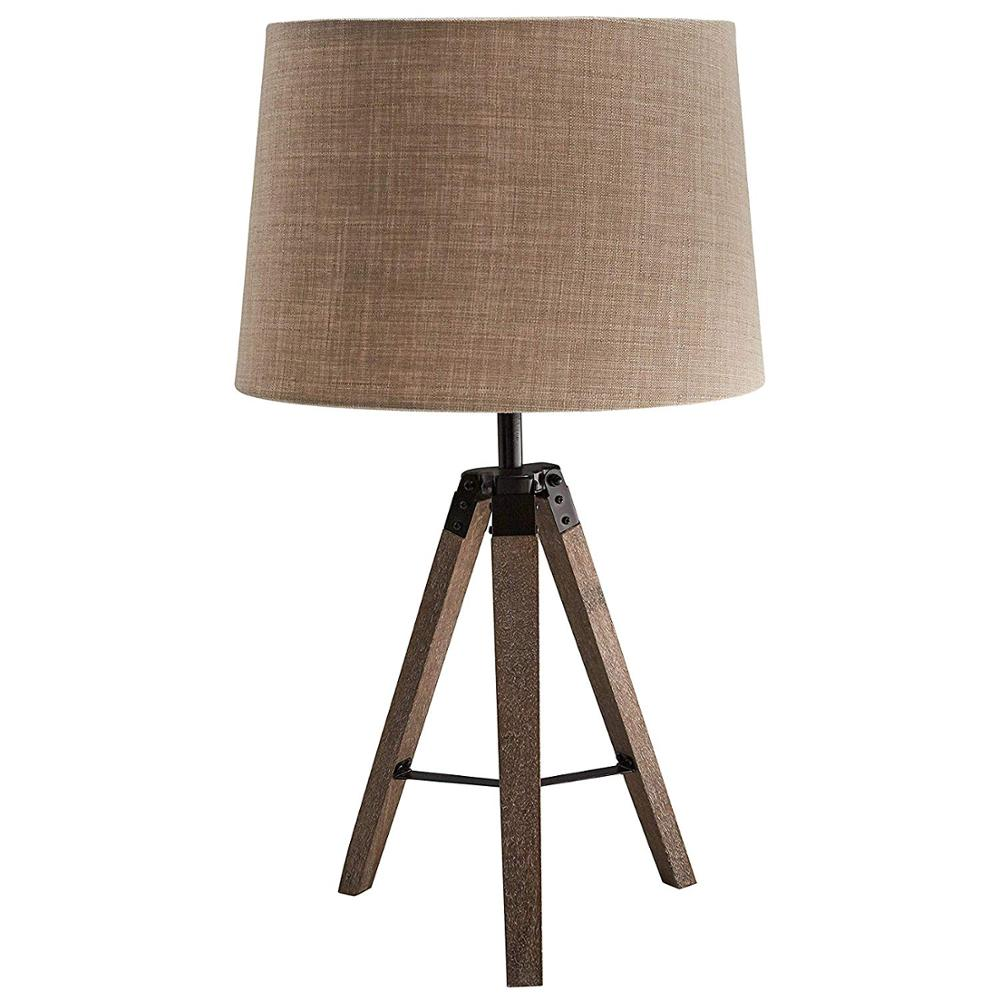 Wood Tripod Table Lamp E27 Wooden Desk With Linen Lampshade Ttripodtable Product On Alibaba