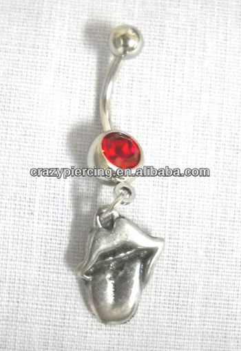 Shining Hot Sale 316L Stainless Steel Lips Tongue RED Belly Ring Navel Bar Body Piercing