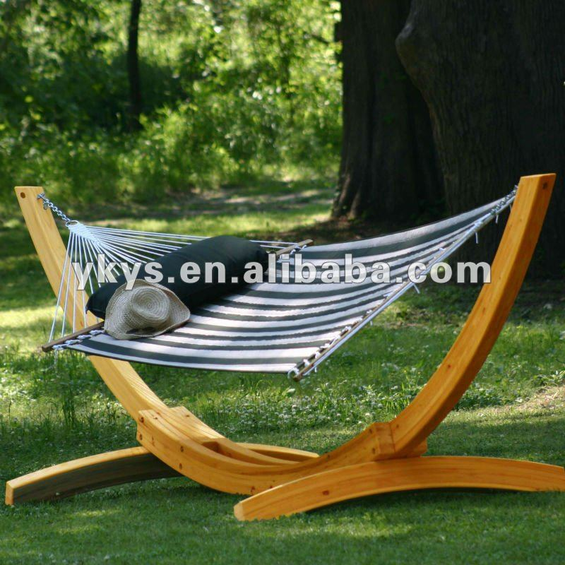 Quilted Hammock With Wood Arc Hammock Stand