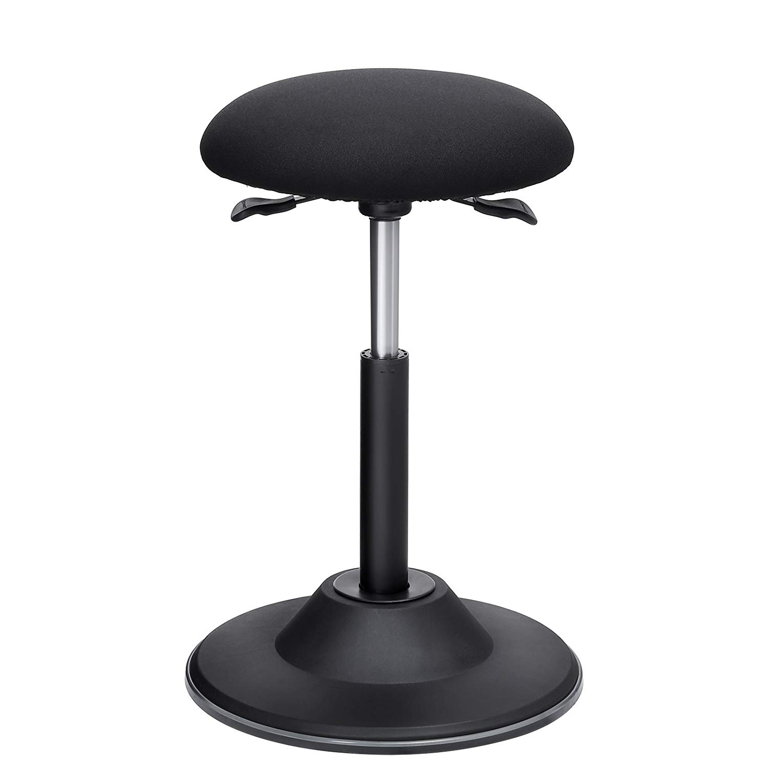 SONGMICS Standing Desk Chair, Adjustable Height Ergonomic Standing Stool, 360°Swivel Sitting Balance Chair, Anti-Slip Bottom Pad, Sit-Stand Stool for Office Home School, Fabric Black UOSC01BK