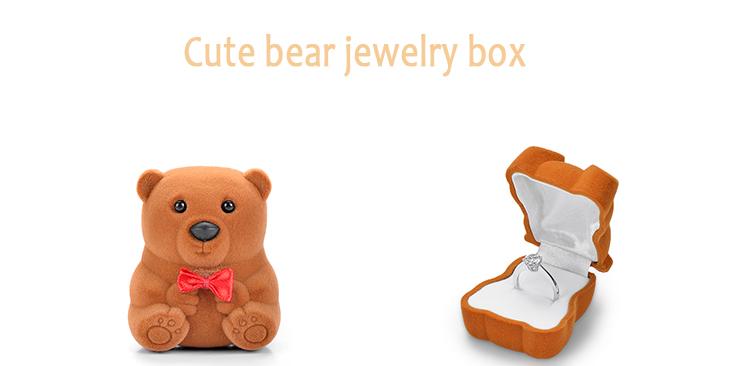 Lovely Velvet Bear Jewelry Box Case For Rings Earrings Necklace Pendant Gift L