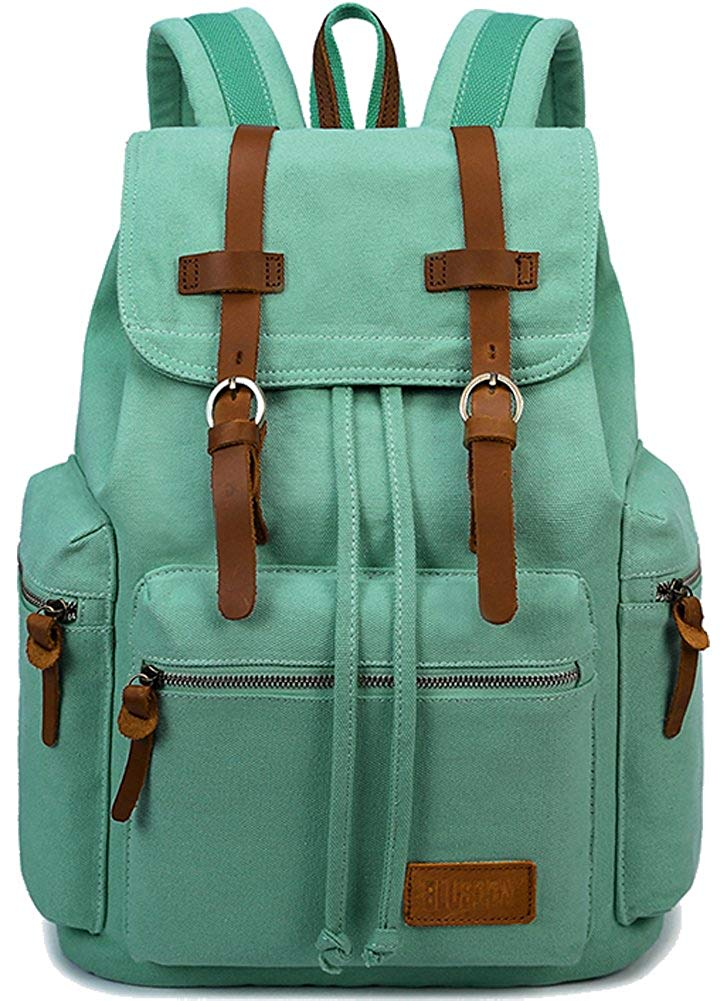 91e8a1ce7ff3 Get Quotations · BLUBOON Canvas Vintage Backpack Leather Casual Bookbag Men  Women Laptop Travel Rucksack