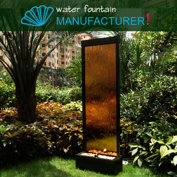 Bronze color mirror waterfall fountain for indoor and outdoor decoration,water feature,water bubble screen