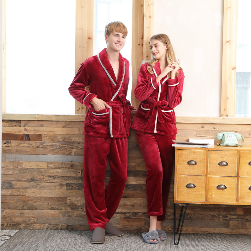 Trendy XU Mens Winter Pure Color Flannel Homewear Thick Warm Coral Pajamas Set