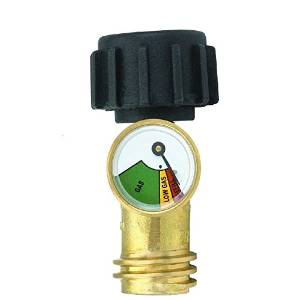New Brass Propane Level Gauge Tank & Fuel Line of Your Grill Patio Heater or Appliance with a Type-1 Connection Gauge with High Low & Refill levels