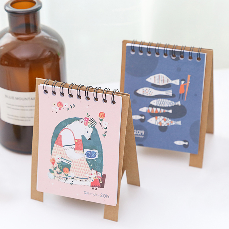 Kawaii Cartoon Animal Calendar Desk Standing Paper Calendar Multifunction Schedule Planner Notebook Sale Overall Discount 50-70% Calendar Office & School Supplies