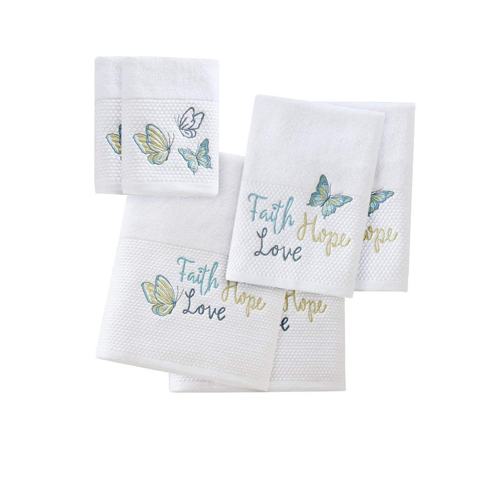 Faith Hope Love Cotton Bathroom Towels , Washable Highly Absorbent Bath Towel Set , 6-Piece Include 2 Bath Towels, 2 Hand Towels & 2 Wash Towels , Blue White