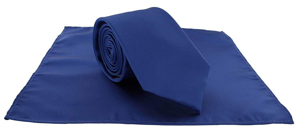 56a13a6c5456 Michelsons of London Mens Plain Polyester Pocket Square and Tie Set - Royal  Blue