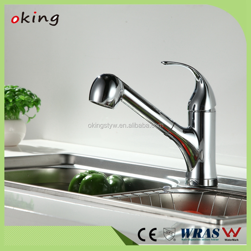 Single Handle Kitchen Sink Pull Out Spray Mixer Tap Faucet, Polished Chrome Kitchen Faucet