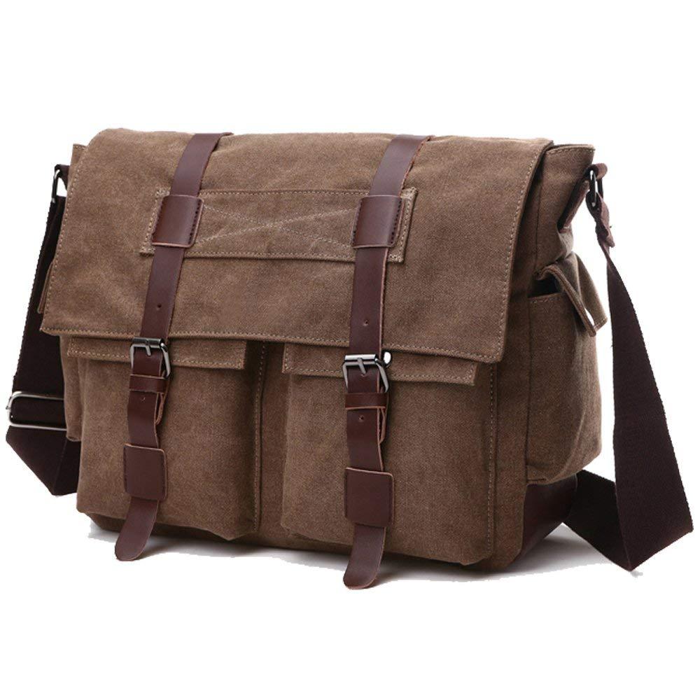 394c79f61538b9 Get Quotations · Large Capacity Laptop Bag Military Messenger Bag Vintage  Canvas Travel Computer Bag Durable Shoulder Laptop Case