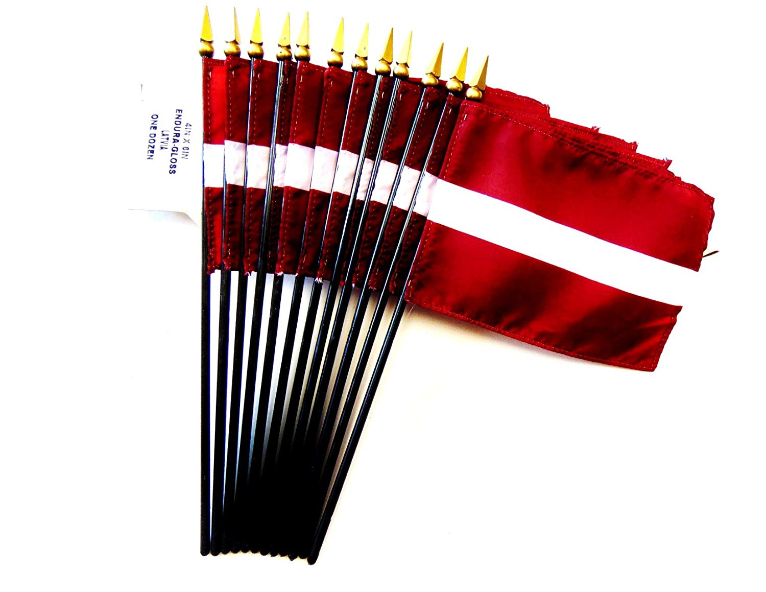 "MADE IN USA!! Box of 12 Latvia 4""x6"" Miniature Desk & Table Flags; 12 American Made Small Mini Latvian Flags in a Custom Made Cardboard Box Specifically Made for These Flags"