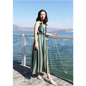2019 Holiday Play Suit Bohemian Backless V Neck Striped Braces Skirt Chiffon Maxi Dress
