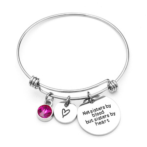 316L Stainless Steel Round Pendant Birthstone Charm Bangle Bracelet Women Gift Adjustable Engraving Logo Wire Jewelry Bracelet