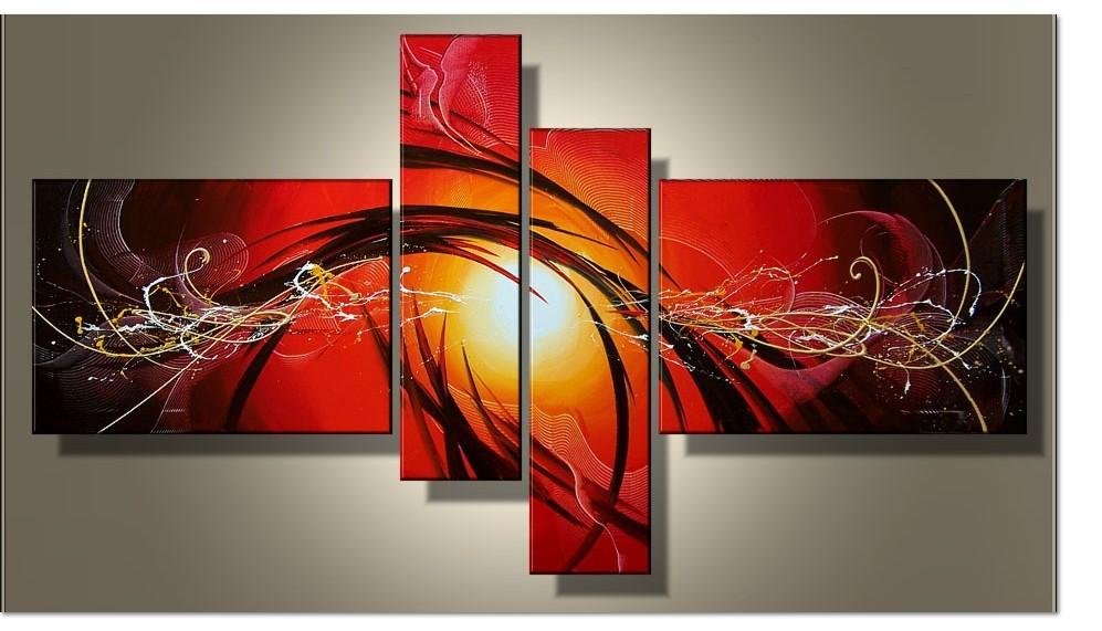 Current Fashion Canvas Painting Red Abstract Art 4 Piece