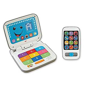 Fisher-Price Fun, Colorful, Durable, Laugh and Learn Smart Stages Laptop and Smart Phone Pretend Play Kids Gift Set- Suitable for children 6-36 months old