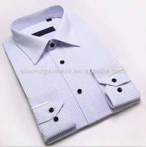 Elegant long sleeve comfortable check/plaid career apparel/business dress shirts for men with pointed collar