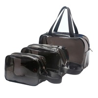 3 Pieces Clear Makeup Bags Cosmetic Makeup Bags Set Waterproof Clear PVC Travel Pouch for Women