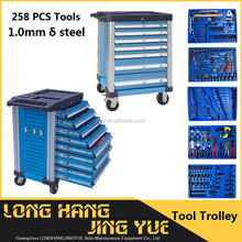 New Design 7 drawers trolley toolbox / 258PCS tool trolley with tool / metal tool cabinet