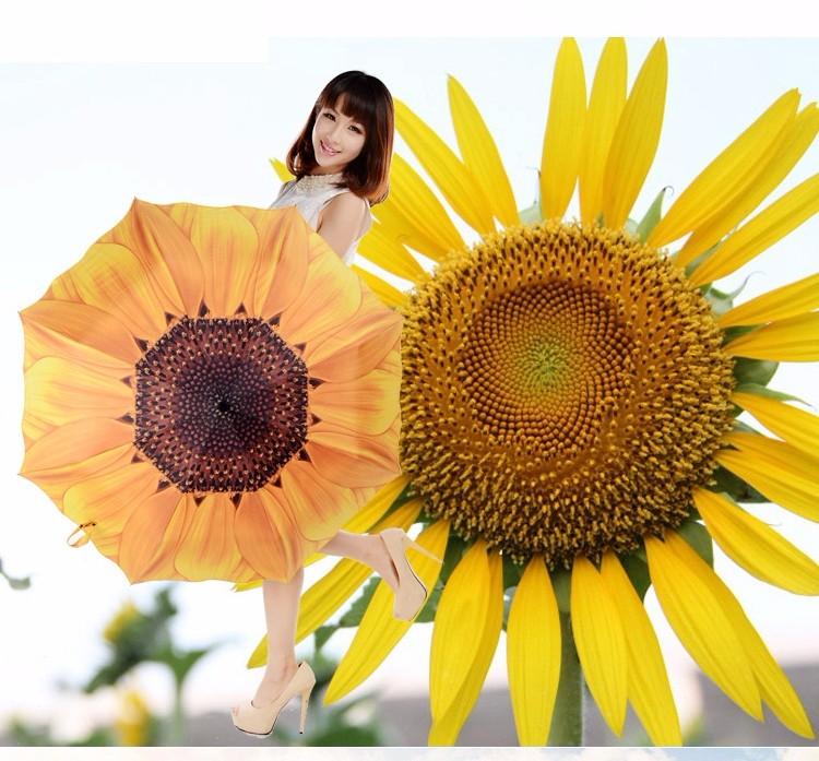 61730087b 2019 Creative Sunflower Women Fashion 3 Folding Umbrella Sun/Rain ...