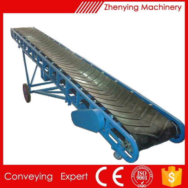 Mobile adjustable speed belt conveyer for grain/food
