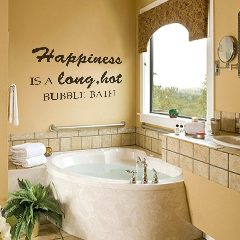 Buy Happiness is a Long Hot Bubble Bath Wall Decal Bathroom Quotes ...
