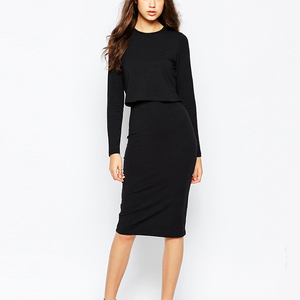 Long sleeve bodycon elegant women casual dress