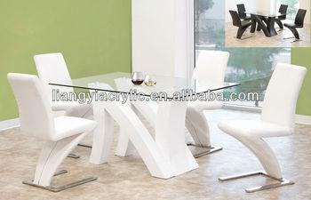 Moderne Stoelen En Tafels Witte Lak W Glas Top Eetkamer Set - Buy ...