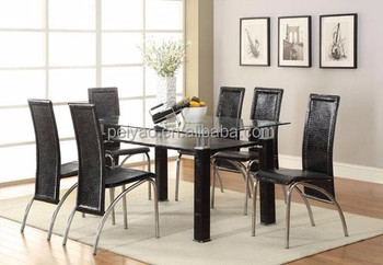 Hot Sale 2 Layers Dining Table Glass Dining Table Set Metal Legs