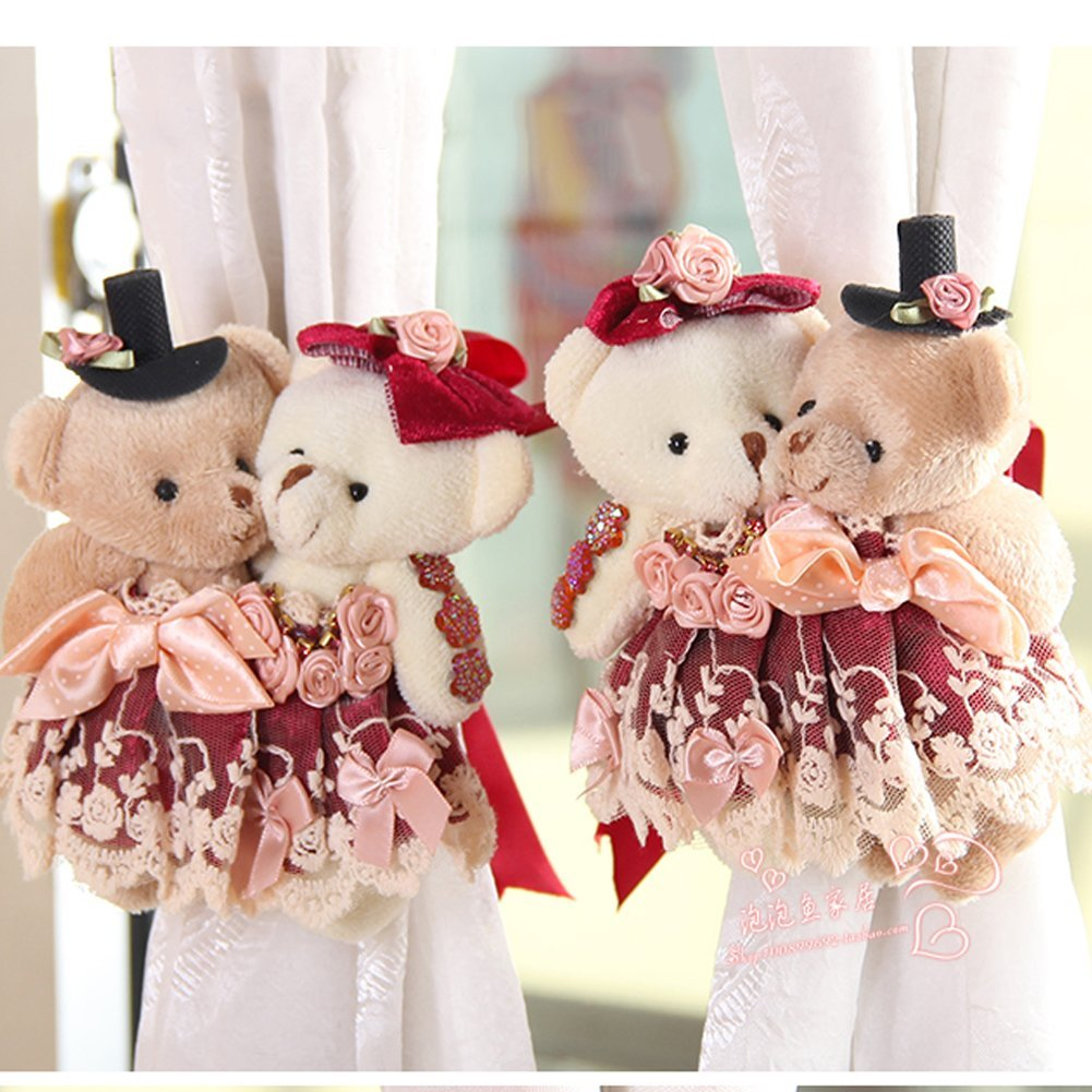3e276a3f51a Ougar8 Cute Curtain Holdback Rose Love Teddy Bear Cartoon Tie Back Hook  Hanging Buckle For home