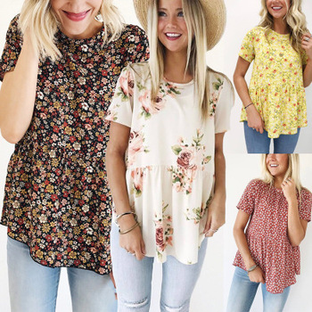 2019 Casual Womens tops and blouses Floral Printing Short Sleeve Round Neck Tunic Tops blouse women plus size
