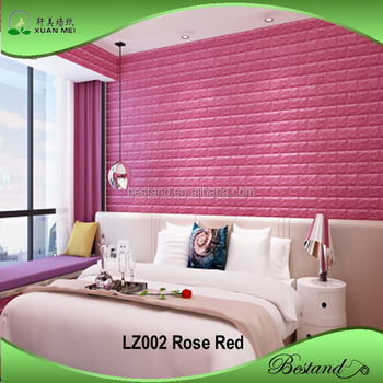 high quality 3d pe/ eva foam brick wallpaper pink color wall