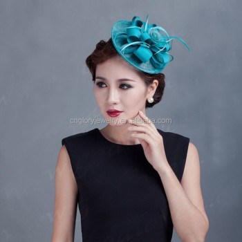 Wholesale women colorful feather and sinamay fascinator hats made in China a797229b6a5e