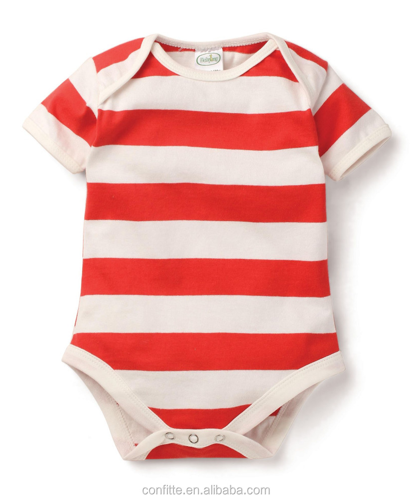 Summer simple design baby short sleeve romper infant baby knit stripe bodysuit