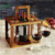 Acacia Wood Wine Bottle Caddy Holds 4 Pieces Of Glass Stemware