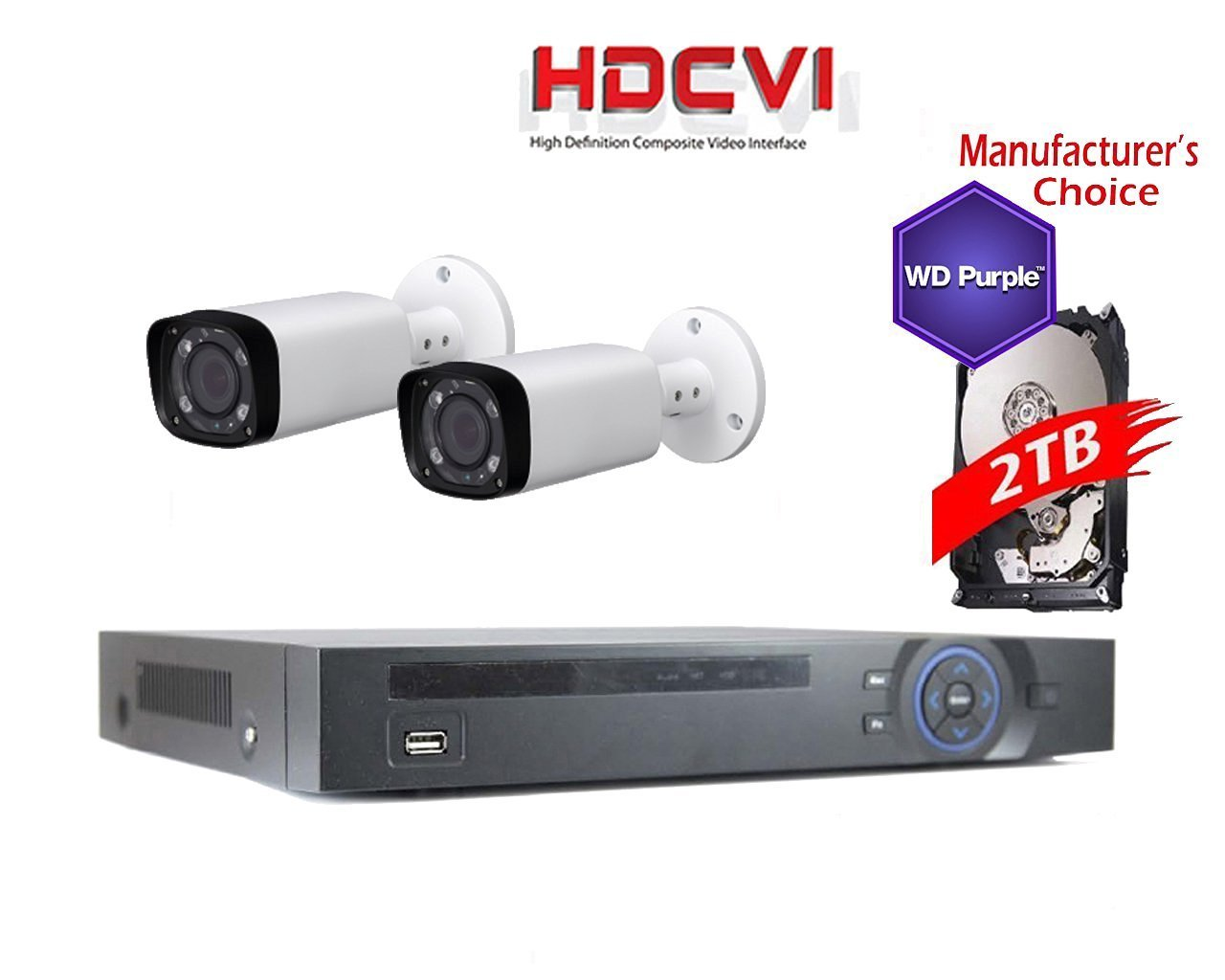 iCare 1080P Package: 8CH HDCVI DVR 2TB WD Purple HDD Pre-installed + 2 x 2MP IR60M Waterproof Bullet Camera,2.7-12mm, 2 years warranty, Local Support