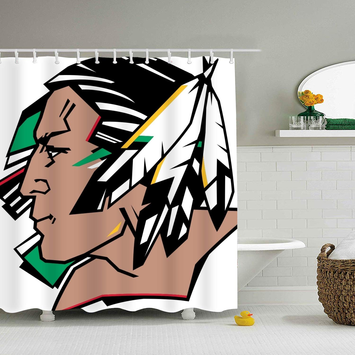 shunshunfeng North Dakota Fighting Sioux Shower Curtain, Extra Long Bath Decorations Bathroom Decor Sets with Hooks Marriage Gifts for Men and Women in Art Print Polyester Fabric 65 x 72