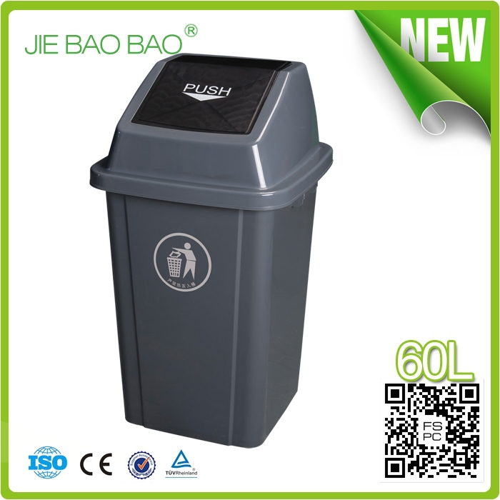 household products outdoor garbage container american style flip top can opener trash can Red Color 60l plastic bucket