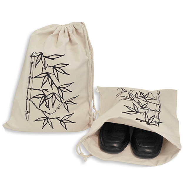 Set of 2 Cotton Pattern Printing Travel Shoe Washable Storage Bag with Drawstring Tie