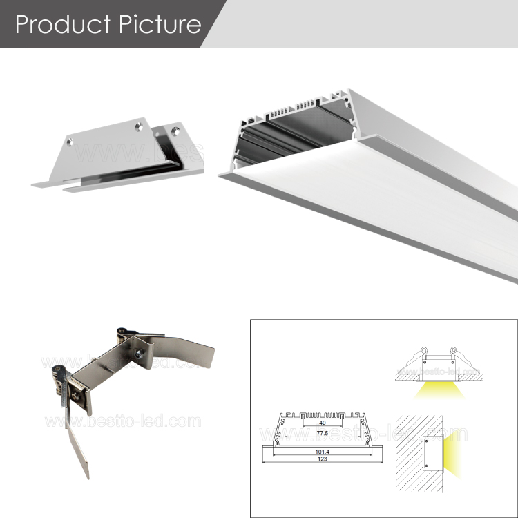 Shen zhen directly supply W123H35mm recessed DIY led linear lighting system matching with zhaga standard LED strip light