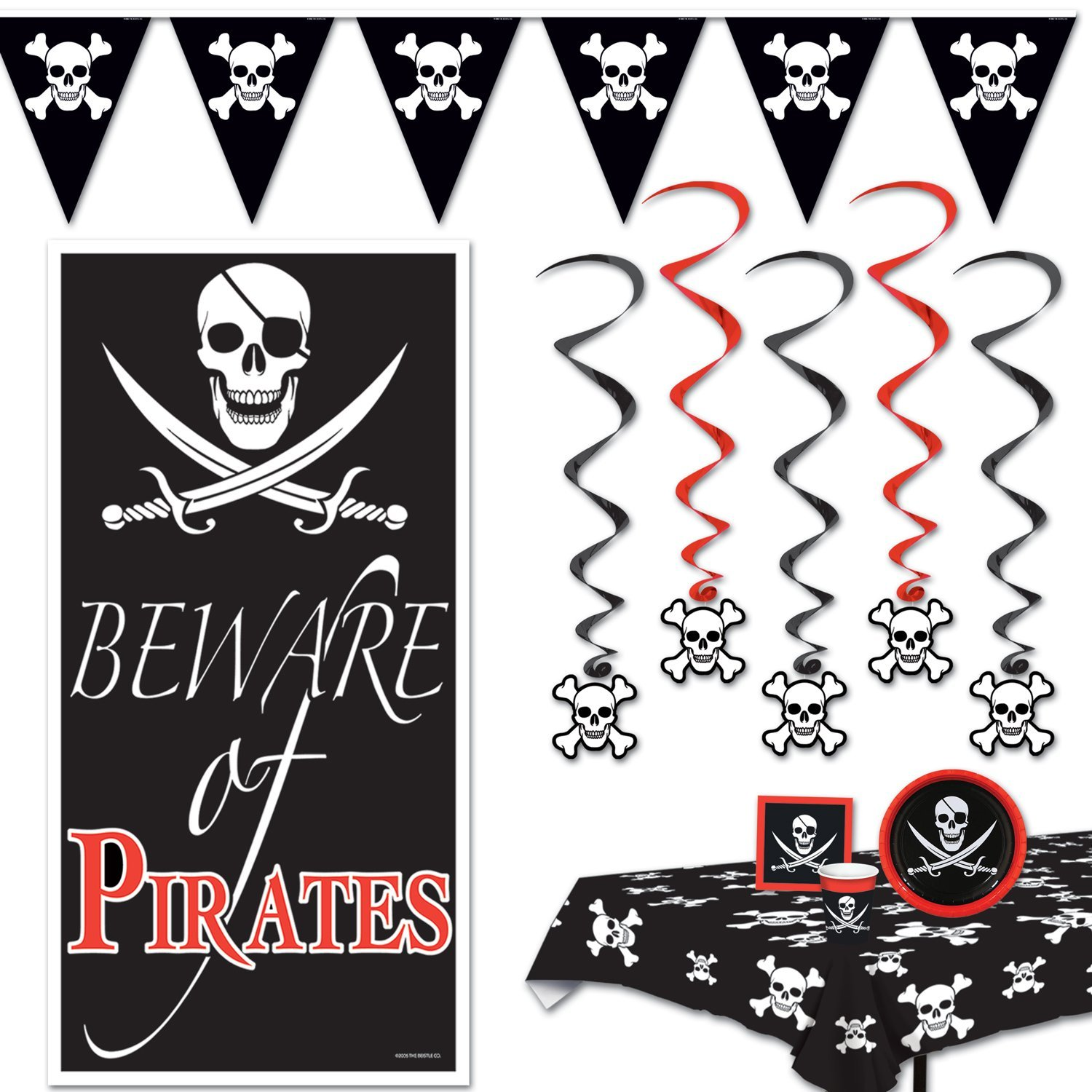 All-in-one Pirate Themed Party Supplies and Halloween Party Decorations bundle- 5 Whirls, 1 Pirate Door Cover, 1 Pirate Tablecover, 1 Jolly Roger Pennant Banner, 16 Napkins, 8 Beverage Cups and Plates