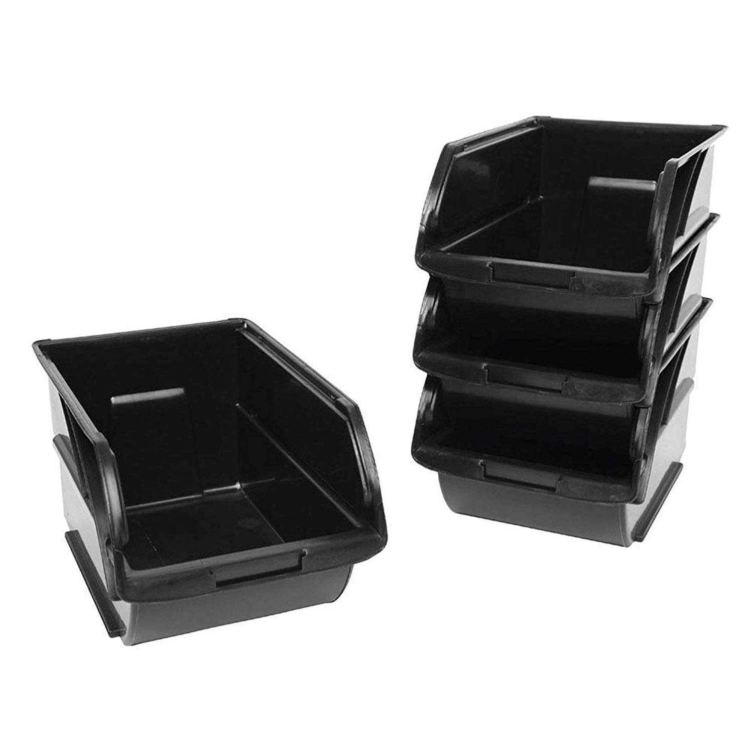 MRT SUPPLY Small Item Bins 4 Pack Stackable Storage Oraganizer Container Bin Plastic Black with Ebook