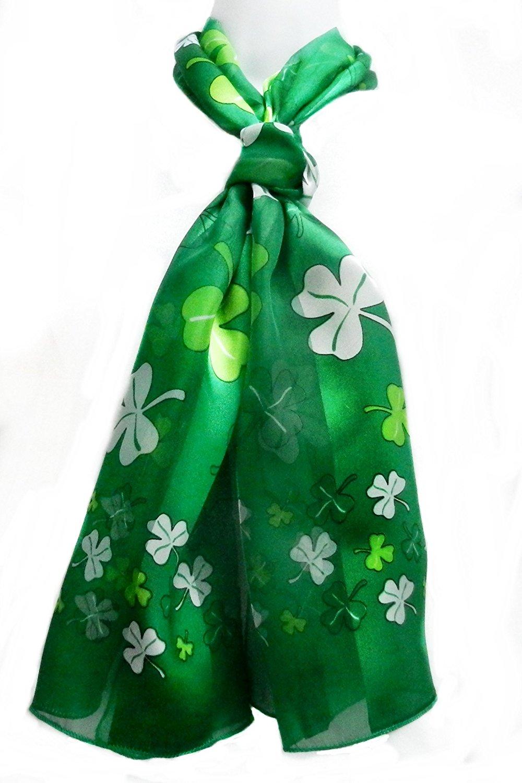 ii...Silk Feel Irish Scarf-Shamrock Confetti White & Green on Green