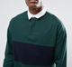 Men'S Oversized 100% Cotton Long Sleeve Rugby Polo Shirt With Contrast Panel