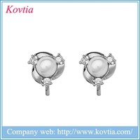 Cheap sliver jewelry YIWU factory best quality fashion design clip on pearl earrings findings