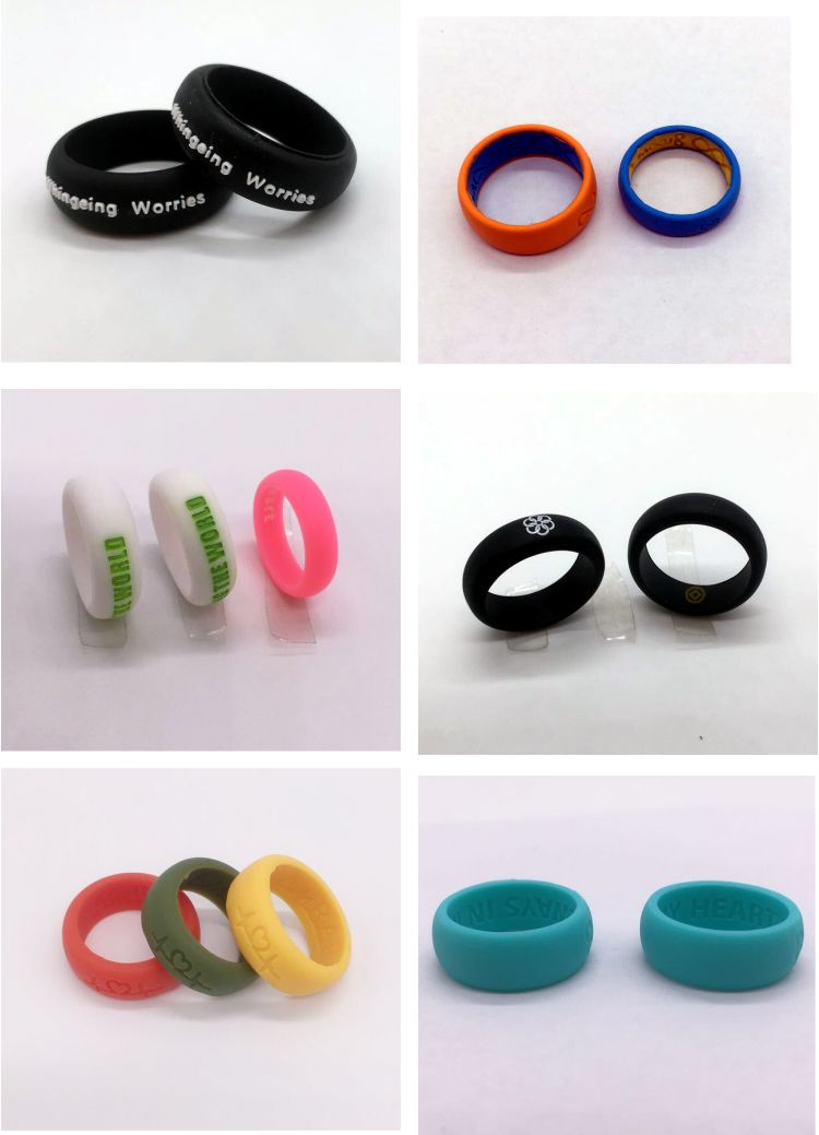 hot sale customized debossed silicone rubber wedding finger rings