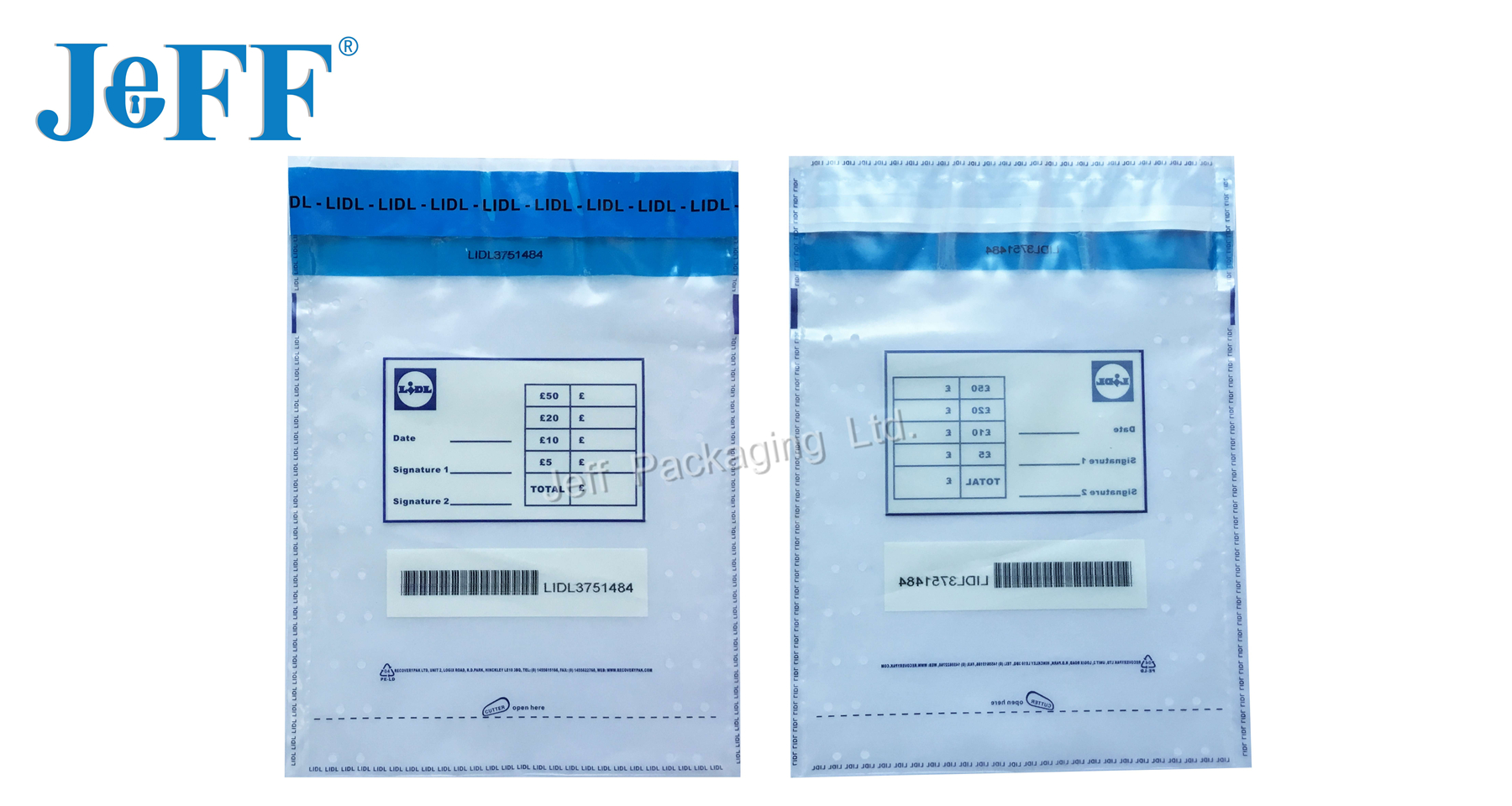 China OEM printed plastic tamper evident bag/ loose change bag for shop LIDL