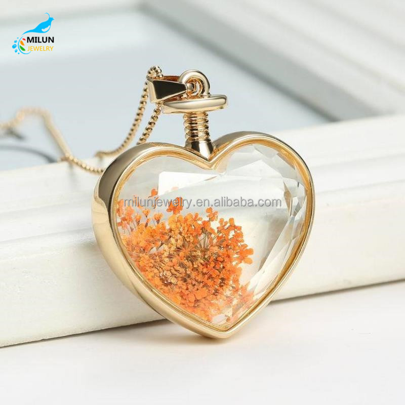 Wholesale dried flower heart shape pendant necklace buy dried 36016320219656893g 36016511003327270g aloadofball Image collections
