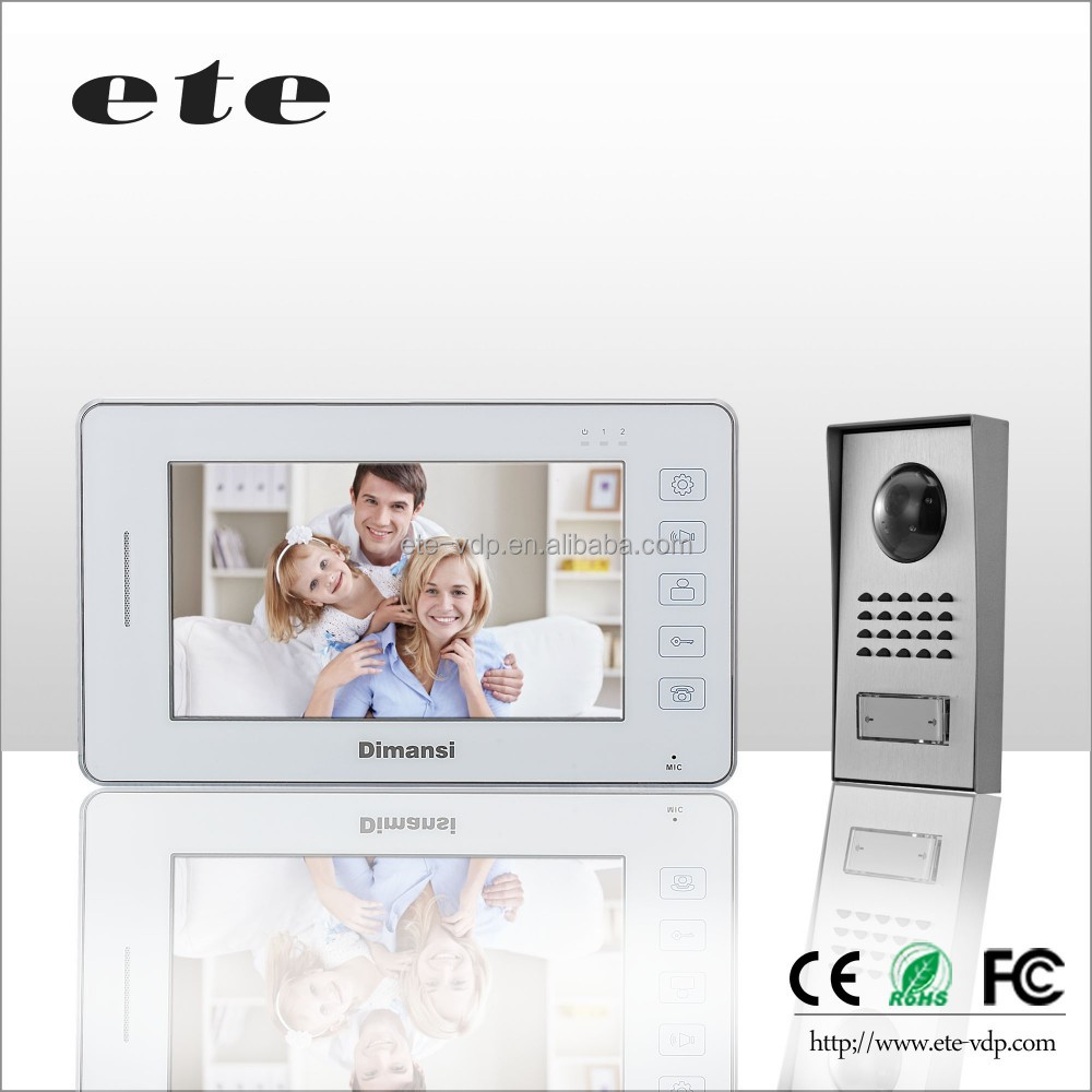 ETE 7 inch CMOS Camera villa ring video intercom videophone video doorbell support 2 indoor + 2 outdoor unit + 1 CCTV camera